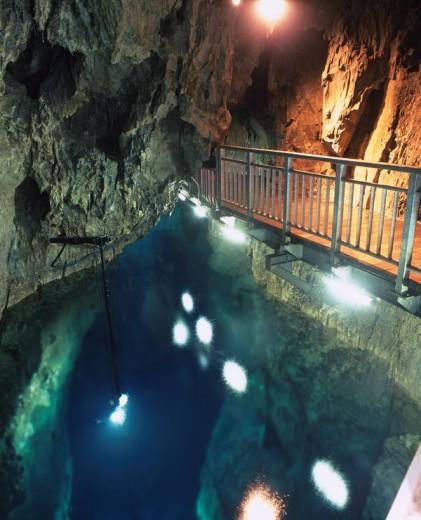 underground lake, Limestone cave, Ryusendo, Iwaizumi, Iwate, Japan : Stock Photo
