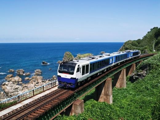 Railway, Gono Line, Resort Shirakami, Sea of Japan, iron bridge, Hachimine, Akita, Tohoku, Japan : Stock Photo