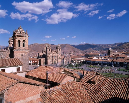 Red tiled roof House Cuzco Town Cuzco Peru World Heritage Blue sky City View Clouds Mountain : Stock Photo