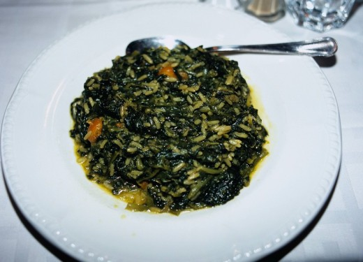 Boiled spinach, Greek food, Athens, Greece : Stock Photo