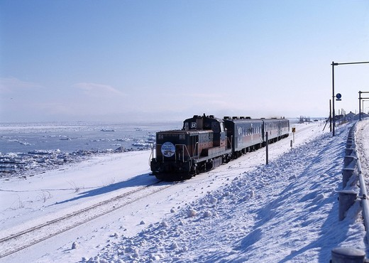Snow White Track Local Train Norokko : Stock Photo