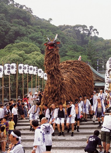 Warei Taisai Ushioni Matsuri Festival, Uwajima, Ehime, Japan : Stock Photo