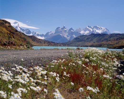 Paine mountains, Paine river, Torres Del Paine national park, Chile : Stock Photo