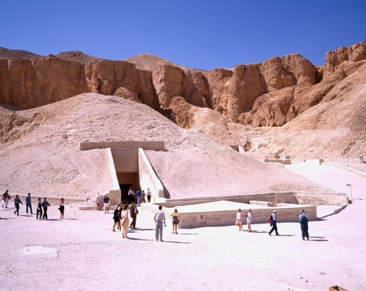 Stock Photo: 4034-67181 The tomb of Tutankhaten right, Tha tomb of Ramses 6 left, Luxor, Egypt, World Heritage
