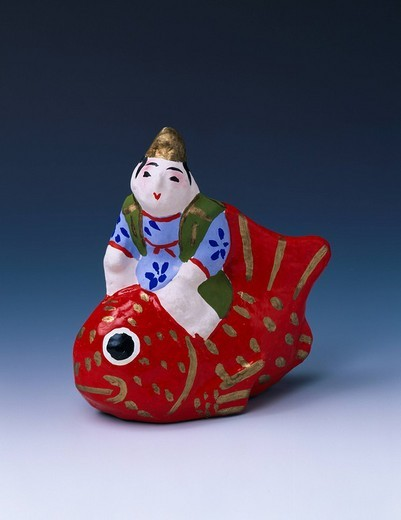 Yatsuhashi clay figure, Child riding sea bream, Akita, Akita, Tohoku, Japan : Stock Photo
