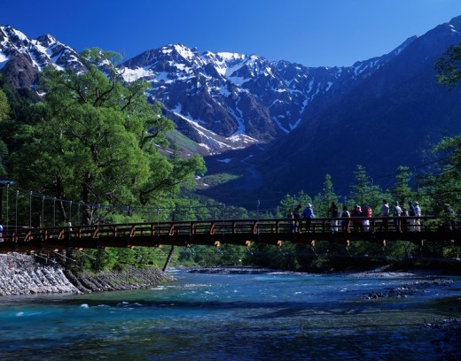 fresh green Kappa bridge Hotaka Mountain range Azumi Kamikochi Nagano Japan Sky Snow Mountain Tree People Bridge River : Stock Photo