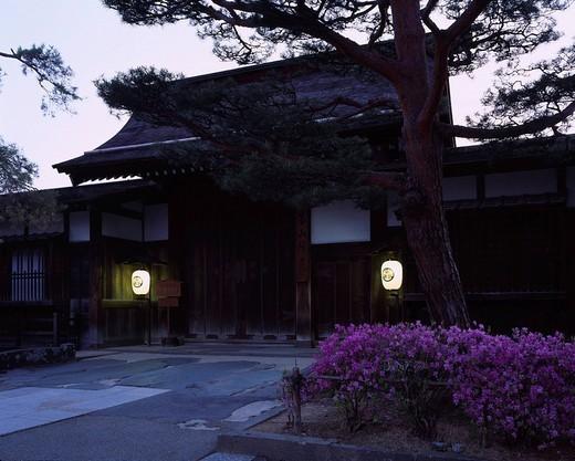 Stock Photo: 4034-71503 Takayama Jinya, Night, Paper Lantern, Takayama, Gifu, Japan