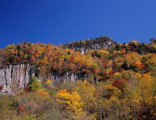 Sounkyo Ravine hot spring, Red leaves, Kamikawa, Hokkaido, Japan, Blue sky, Mountain, Tree, Red leaves, October : Stock Photo
