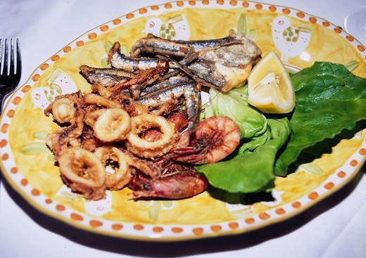 Stock Photo: 4034-7217 seafood Frit, Amalfi, European food, Italy, Europe