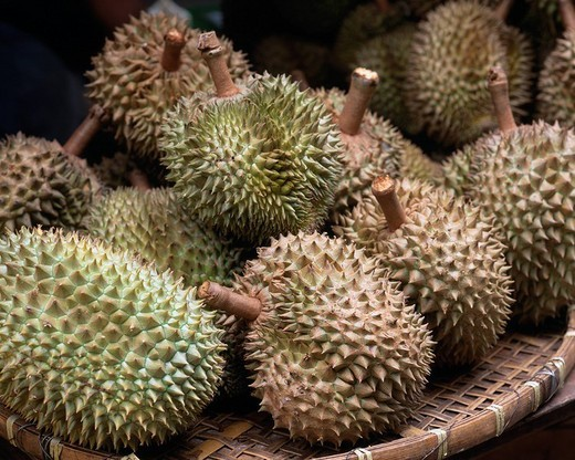 Ricramation street Durian Yaumatei Kowloon Hong Kong Fruit Basket : Stock Photo