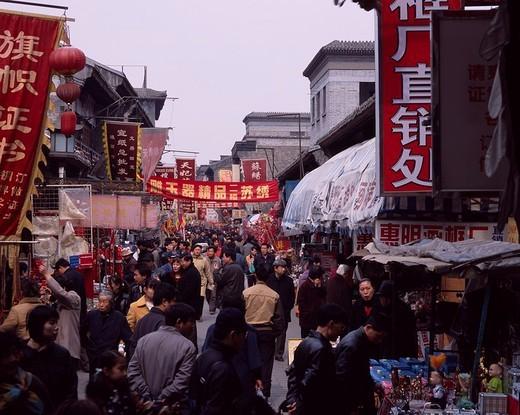 Guwenhua town, Tianjin, HebeiSheng, China, people, Stall, flag, Paper lantern, Shopping, April : Stock Photo