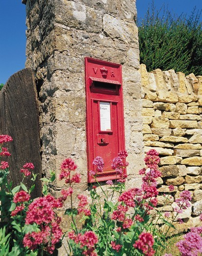Stone gate, Post, Flower, Cotswolds, United Kingdom : Stock Photo
