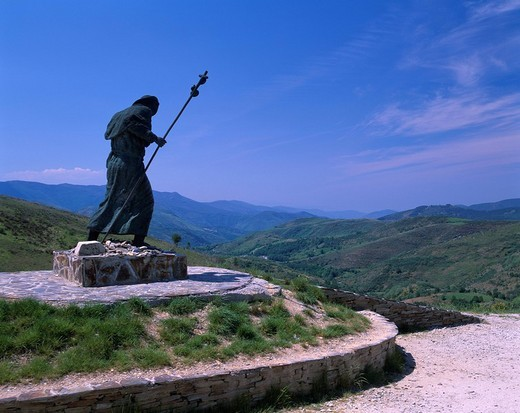 Near Cebreiro pass, Pilgrimage statue, Cebreiro, The Santiago pilgrimage way, Spain, June : Stock Photo