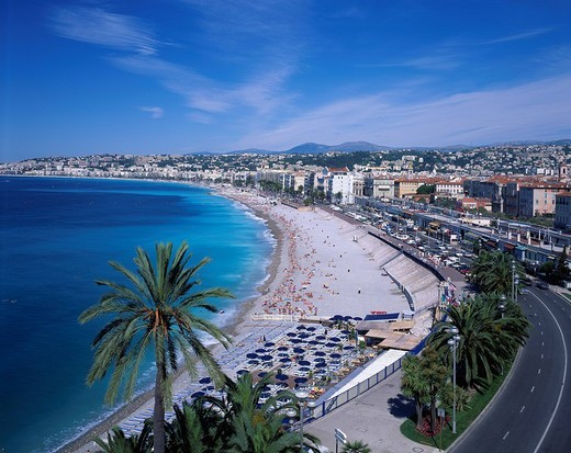 Nice seashore Nice Cote d´Azur France Sea Sea bathing Road : Stock Photo