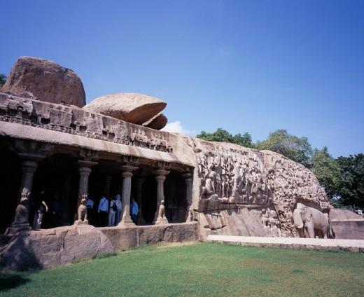 Stock Photo: 4034-73673 Arjuna Penance Mahabalipuram India World Heritage