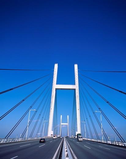 Babe ridge Yokohama Kanagawa Japan Road Bridge Traffic : Stock Photo