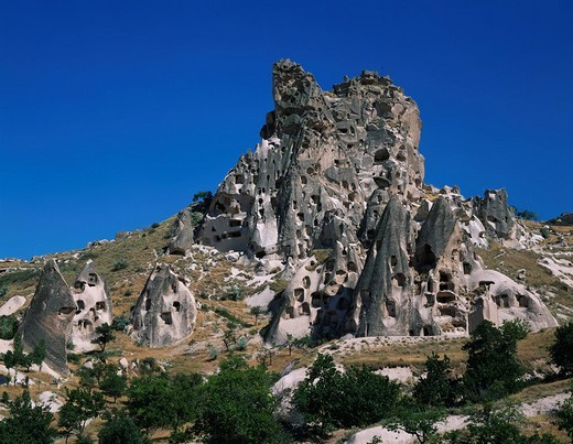 Cave House, Oddly Shaped Rock Outcroppings, Uchisar, Cappadocia, Turkey, Middle East, World Heritage : Stock Photo