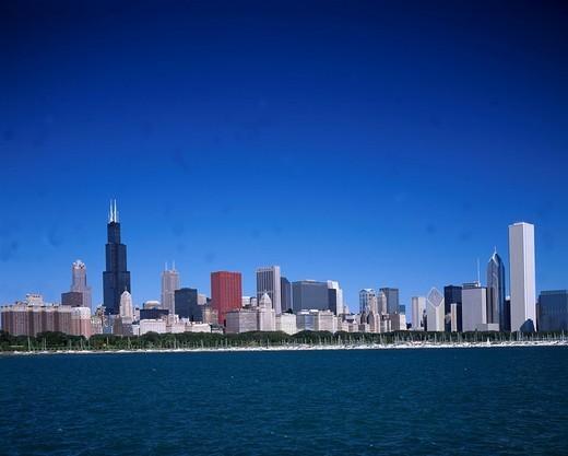 Stock Photo: 4034-7625 Michigan Lake, Skyscraper, Chicago, United States of America