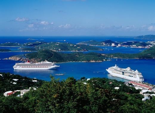 Charlotte Amalie port, cruise ship, Saint Thomas, U.S. territory Virgin Islands, Latin America, Paradise point : Stock Photo