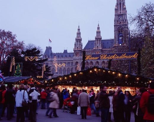 City hall, Christmas market, Wien, Austria : Stock Photo