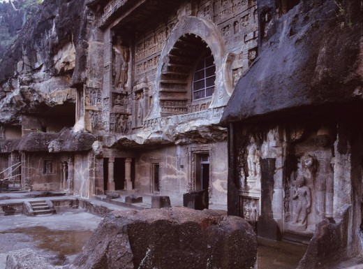 Ajanta stone cave group, Ajanta, India : Stock Photo