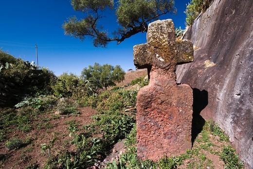 Cross of Stone, Jordan River, Lalibela, Ethiopia, World Heritage, Africa : Stock Photo