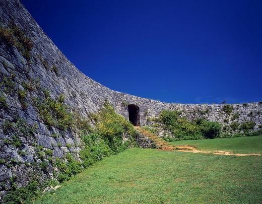 The remains of Zakimi Castle, Yomitan, Okinawa, Japan, World Heritage : Stock Photo