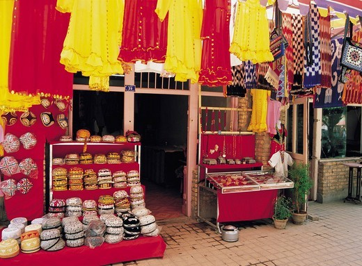 Stock Photo: 4034-7908 Uighur folkcraft shop, Kashgar, Xinjiang Uygur Autonomous Region, China