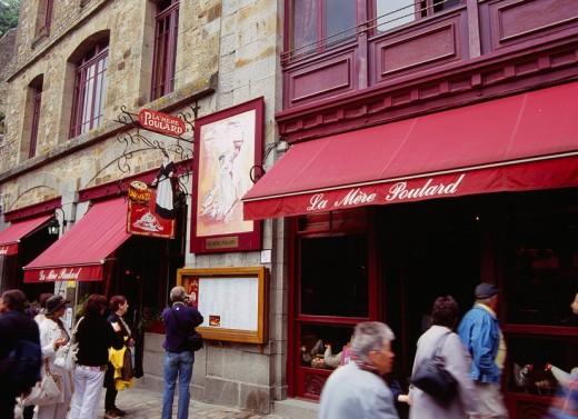 La Mere Poulard, omelet, shop, Mont Saint Michel, France, Europe, June : Stock Photo