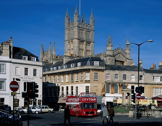 Bath Church Street corner Bath United Kingdom Signal Streetlight Blue sky Bus People : Stock Photo