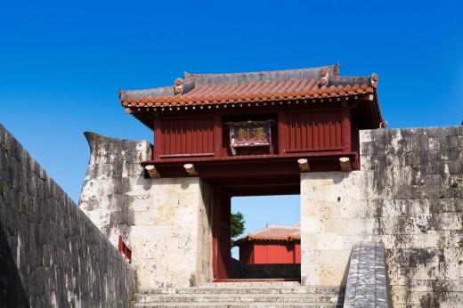 Shurijo Castle Park, Rokoku gate, Naha, Main island, Okinawa, Japan : Stock Photo