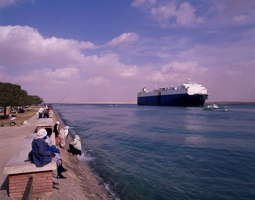 Southern tip, Suez Canal, Suez, Egypt : Stock Photo