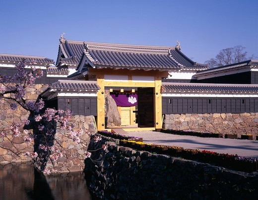 Stock Photo: 4034-79932 The Matsumoto Castle drum gate Matsumoto Nagano Japan Castle