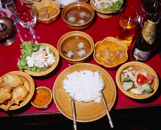 Thai food Thailand classical dance Dinner show Bangkok Thailand : Stock Photo