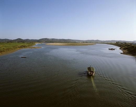 Baengmagang River Puyo South Korea Blue sky Mountain River Ship Vehicle, Transportation Traffic Wake : Stock Photo