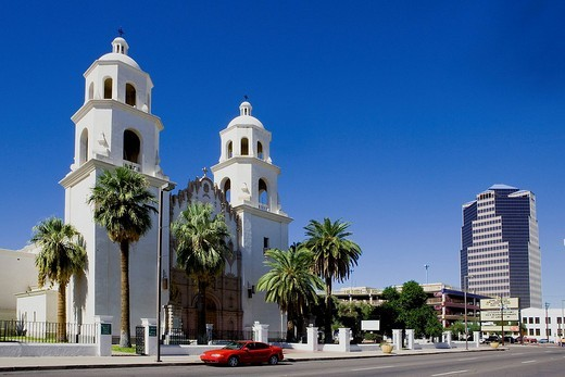 Stock Photo: 4034-82405 St Augustine´s cathedral, church, Tucson, Arizona, United States