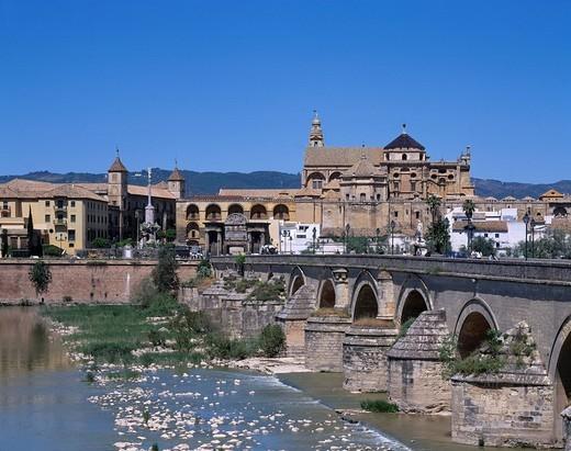 Rome bridge and Mezquita, Cordoba, Andalucia district, Spain, sky, mountain, bridge, River, City View, House, Streetlight : Stock Photo