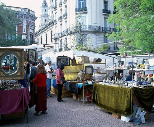 Dorego Square Antique city Buenos Aires Argentina City View Store Street stall People Goods Tree Green : Stock Photo