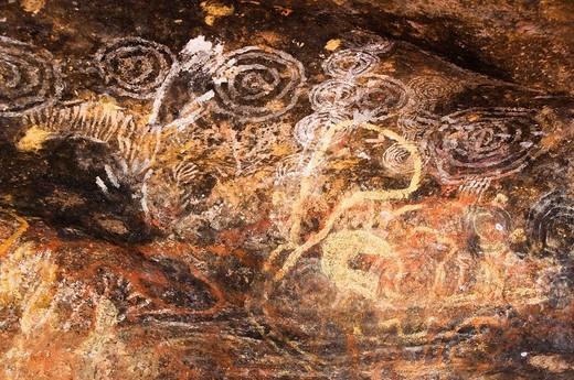 Wall painting of Aborigine, Uluru_Kata Tjuta National Park, Australia, World Heritage : Stock Photo