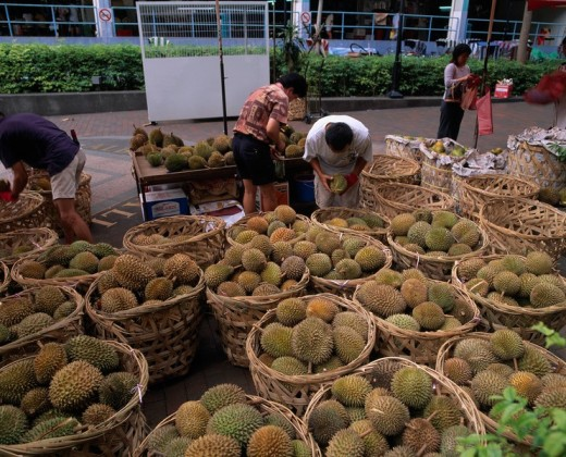 Durian market Bugis Street Singapore Fruit Fruit Plant Store Market : Stock Photo