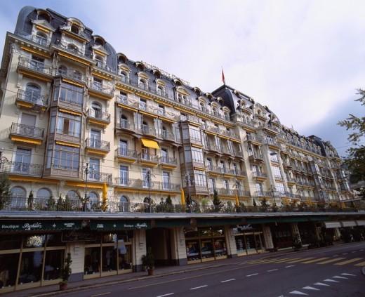 Hotel Montreux Pallas Montreux Switzerland Sky Way Road Hotel Tree : Stock Photo