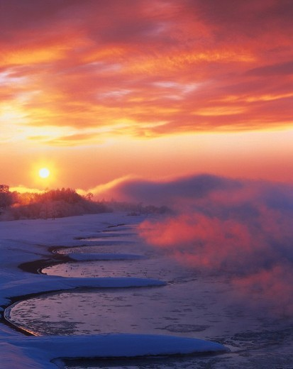 Tokachigawa Tokachi river morning sun morning glow sunrise winter Hokkaido Japan Sky Clouds Sun Mist Water Snow Tree : Stock Photo