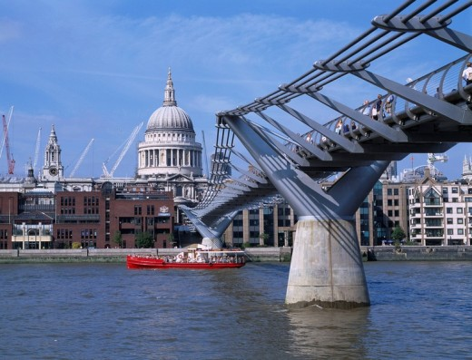 Tourist ship River St. Paul´s Cathedral Millennium bridge London United Kingdom : Stock Photo