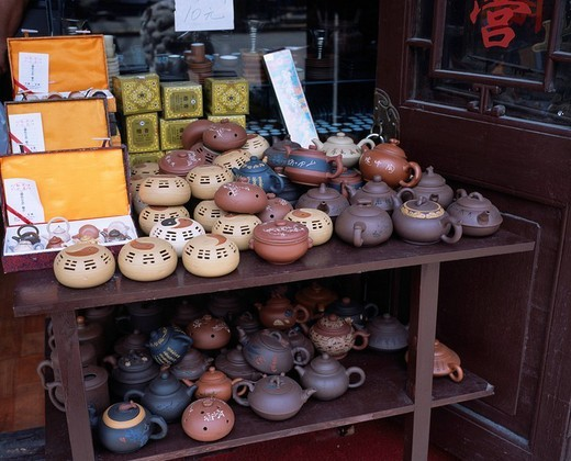 Tea set Earthenware Souvenir Folkcraft of a Shanghai, old town, Shanghai, China : Stock Photo