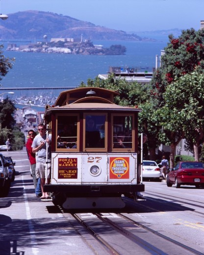Stock Photo: 4034-93541 Alcatraz Island, Cable car, San Francisco, California, United States of America