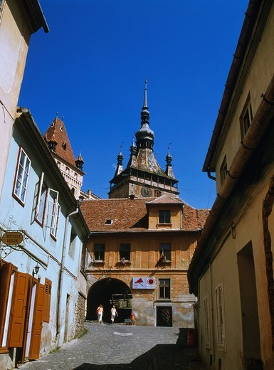 Clock Tower City View Sighisoara Rumania World Heritage : Stock Photo