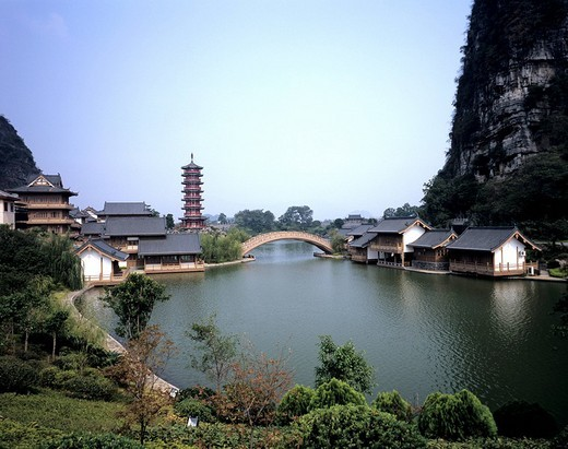 Liangjiangsihu Lake, Mulonghu Lake, Husongcheng, Guilin, Guangxi, China : Stock Photo
