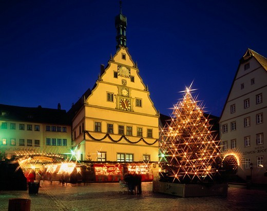 Stock Photo: 4034-95050 City hall of Christmas Rothenburg ob der Tauber Germany Lighting Tree