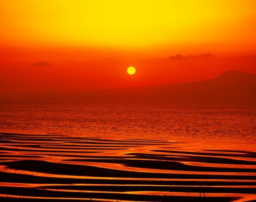Evening Glow, Red, Black, Sun, Ariake sea, Evening View, Udo, Kumamoto, Japan : Stock Photo
