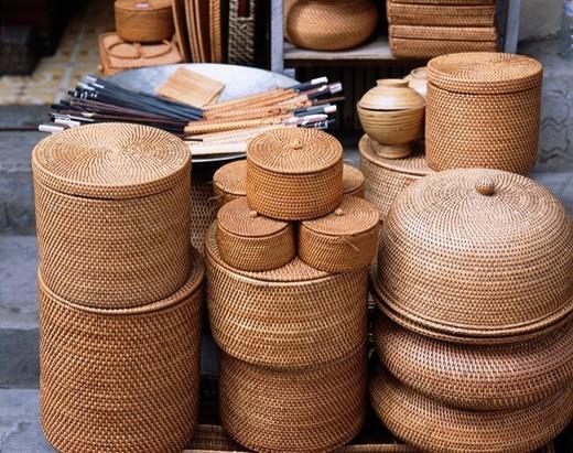 rattan product Folkcraft Hanoi Vietnam : Stock Photo